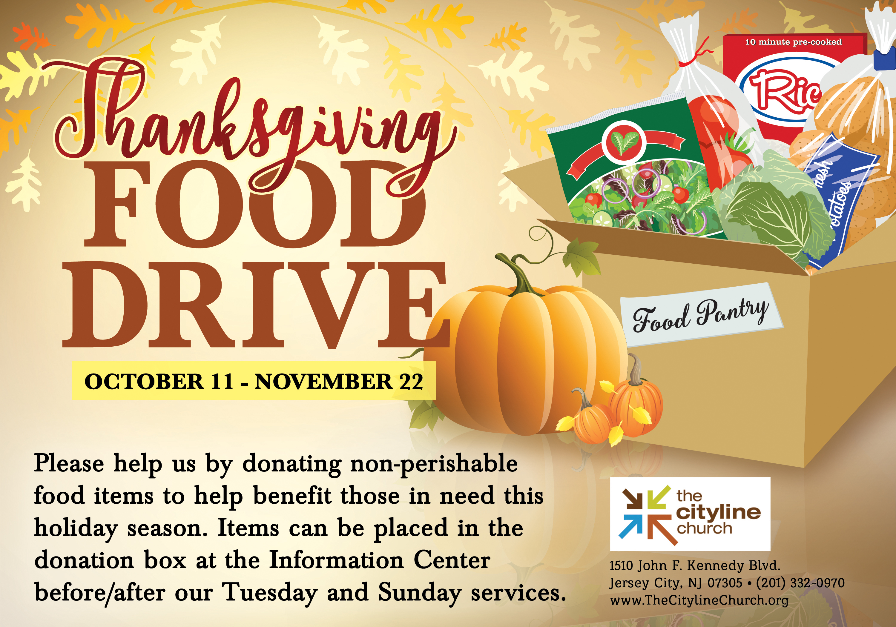 we are the cityline church – thanksgiving food drive